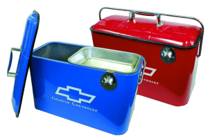Chevrolet-Metal-Coolers-with-Bottle-Opener-and-Snack-Tray-in-Blue,--Black-or-Red