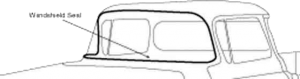 1955-2-1959-Chevy-GMC-Truck-Windshield-Gasket,-Standard-Cab,-Without-Chrome-Reveal-Moulding,-Each,-1955-2nd-Series