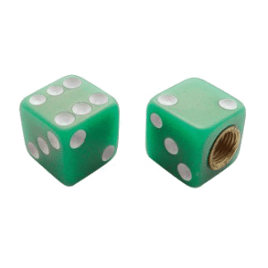Dice-Valve-Caps---Green-w-White-Dots