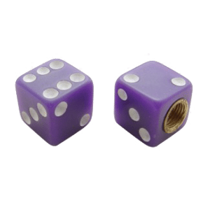 Dice-Valve-Caps---Purple-w-White-Dots